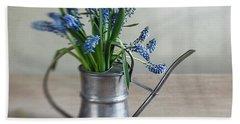 Still Life With Grape Hyacinths Beach Towel