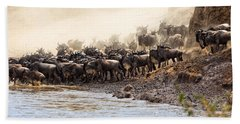 Beach Towel featuring the photograph Wildebeest Before The Crossing by Perla Copernik