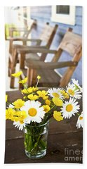 Wildflowers Bouquet At Cottage Beach Towel