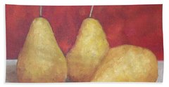 3 Golden Pears On Red Beach Sheet by Patricia Cleasby
