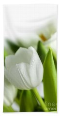 White Tulips Beach Towel