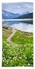 Mountain Lake In Jasper National Park Beach Towel