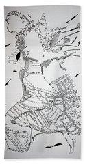 Beach Towel featuring the drawing Kiganda Dance - Uganda by Gloria Ssali