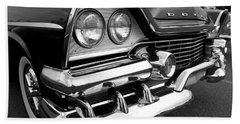 58 Plymouth Fury Black And White Beach Towel