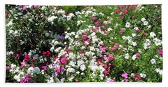 A Bed Of Beautiful Different Color Flowers Beach Towel by Ashish Agarwal