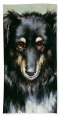 A Black And Tan Collie Beach Towel