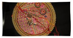 Beach Towel featuring the photograph A Bowl Of Rakhis In A Decorated Dish by Ashish Agarwal