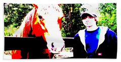 Beach Towel featuring the photograph a Boy and his Horse by George Pedro