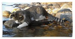 A Cat Goes Fishing Beach Towel by Kent Lorentzen