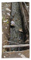 A Dirty Drain With Filth All Around It Representing A Health Risk Beach Towel by Ashish Agarwal