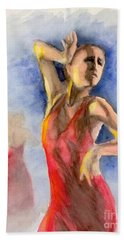 Beach Towel featuring the painting A Flamenco Dancer  2 by Yoshiko Mishina