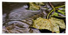 A Leaf In The Rain Beach Towel