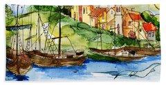 A Little Fisherman's Village Beach Sheet