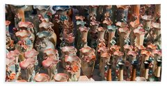 Beach Towel featuring the photograph A Number Of Clay Vases And Figurines At The Surajkund Mela by Ashish Agarwal