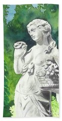 Beach Sheet featuring the painting A Statue At The Wellers Carriage House -2 by Yoshiko Mishina