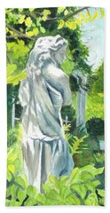 Beach Sheet featuring the painting A Statue At The Wellers Carriage House -3 by Yoshiko Mishina