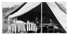 Beach Sheet featuring the photograph Abraham Lincoln Meeting With General Mcclellan - Antietam - October 3 1862 by International  Images