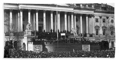 Beach Sheet featuring the photograph Abraham Lincolns First Inauguration - March 4 1861 by International  Images