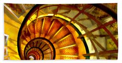 Abstract Golden Nautilus Spiral Staircase Beach Towel