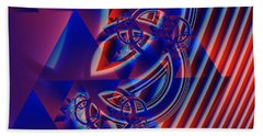 Beach Towel featuring the digital art Abstract In Red And Blue by Mario Carini