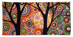Abstract Modern Tree Landscape Distant Worlds By Amy Giacomelli Beach Towel by Amy Giacomelli