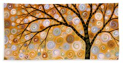 Abstract Modern Tree Landscape Dreams Of Gold By Amy Giacomelli Beach Towel by Amy Giacomelli