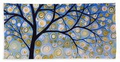 Abstract Tree Nature Original Painting Starry Starry By Amy Giacomelli Beach Towel by Amy Giacomelli