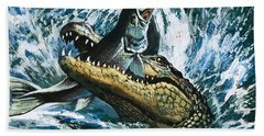 Alligator Eating Fish Beach Towel