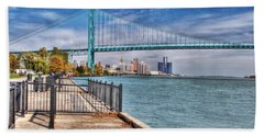 Ambassador Bridge Detroit Mi Beach Towel by Nicholas  Grunas