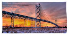 Ambassador Bridge Sunrise 1-16-2012  Detroit Mi Beach Towel by Nicholas  Grunas