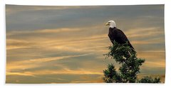 Beach Sheet featuring the photograph American Eagle Sunset by Dan Friend