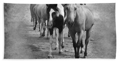 American Quarter Horse Herd In Black And White Beach Towel by Betty LaRue