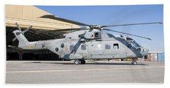 An Italian Navy Eh101 Helicopter Beach Towel