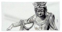 Beach Sheet featuring the painting An Oriental Statue At Toledo Art Museum - Ohio- 2 by Yoshiko Mishina