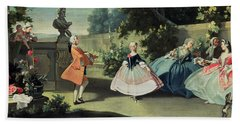 An Ornamental Garden With A Young Girl Dancing To A Fiddle Beach Towel