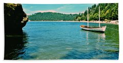Beach Towel featuring the photograph Anchored In Bay by Michelle Joseph-Long