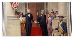 Beach Towel featuring the photograph Andrew Jackson At The First Capitol Inauguration - C 1829 by International  Images