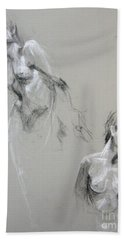 Beach Towel featuring the drawing Andro Double by Gabrielle Wilson-Sealy
