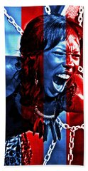 Beach Towel featuring the photograph Anger In Red And Blue by Alice Gipson