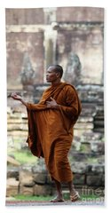 Beach Sheet featuring the photograph Angkor Wat Monk by Nola Lee Kelsey