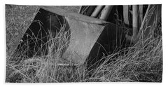 Beach Towel featuring the photograph Antique Tractor Bucket In Black And White by Jennifer Ancker