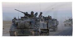 Armored Vehicles Leaving Samarra, Iraq Beach Towel