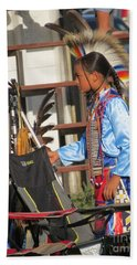 Beach Sheet featuring the photograph At Blackfeet Pow Wow 03 by Ausra Huntington nee Paulauskaite