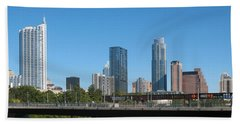 Beach Towel featuring the photograph Austin Texas 2012 Skyline And Water Reflections by Connie Fox