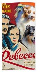 Australian Shepherd Art - Rebecca Movie Poster Beach Sheet