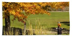 Beach Towel featuring the photograph Autumn At The Schoolground by Mick Anderson