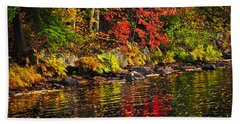 Autumn Forest And River Landscape Beach Towel