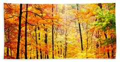 Beach Towel featuring the photograph Autumn Forest by Randall Branham