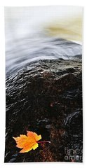 Autumn Leaf On River Rock Beach Towel