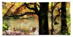 Autumn Oak Tree Beach Sheet